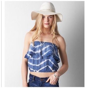 💥 Blue Strapless Lace Crop Top by American Eagle